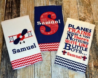 Personalized Airplane Burp Cloth Set - Planes Trains Trucks & Toys There's Nothing Like Little Boys - Vintage Airplanes - Monogrammed Burp