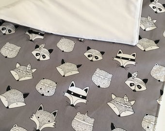 Changing Pad - Waterproof and Washable Mat - Foxes with Pul Laminate Backing -New Size