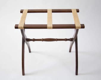 Vintage Wooden Folding Luggage Rack With Greek Key Straps / Fold Out Stand