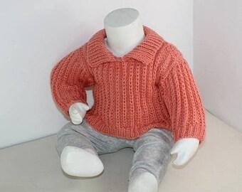 50% OFF SALE madmonkeyknits - Baby Aran Fishermans Rib Collar Sweater knitting pattern pdf download - Instant Digital File pdf knitting patt