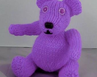 50% OFF SALE Instant Digital File pdf download knitting pattern - Little lilac Teddy Bear Toy Animal pdf download knitting pattern