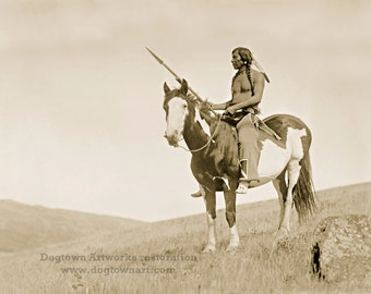 Medicine Owl, Professionally Restored Photograph Reprint of Vintage Native American Plains Indian Man on Horse with Spear