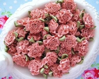 Satin Cabbage Roses - Sweet Nectar - Set of 10