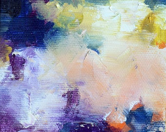 """Original Purple Blue Abstract Painting Miniature Small Format Oil Painting 4""""x4"""""""