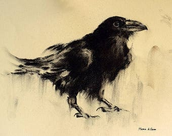 Crow Original Charcoal Drawing Black and White Minimalist Raven Art 12x8""