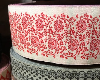 "Vintage Jacquard Sewing Trim RED ROSE Floral Wide Upholstery 1.75"" by the yard Romantic"