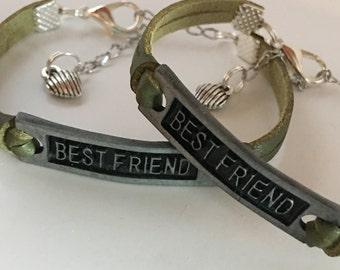 Best Friend leather bracelet set* BFF bracelet * charm bracelet set * Best friend Gift * sister * friend *