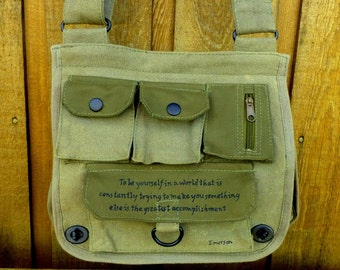 Accomplishment Emerson Quote on Military Style Purse. Crossbody or Shoulder Bag. Hand painted.