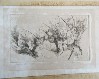 Original Signed Drypoint Etching Print Peggy Bacon Wild in the Woods 10/20