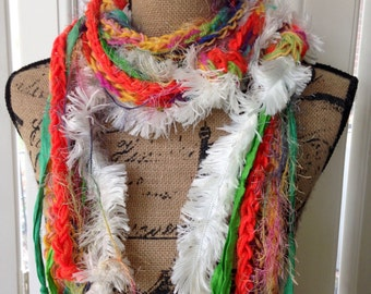 Boho Scarf, Sari Silk, Skinny Scarf, Layered, Crochet, Knotted, Long Fuzzy Scarf, Boho Gypsy Scarf, Bright Colors, Orange, Green, White
