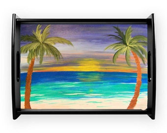 Sunset palm beach coastal serving tray from my art, available in 2 sizes