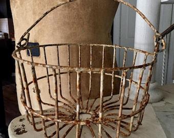 Antique metal egg basket smaller size