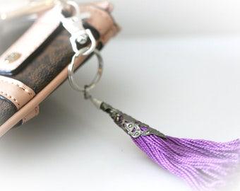 Purple Tassel Keychain. Boho Keyring. Modern Bohemian Purse Charm Key Chain
