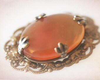 Large Carnelian and Bronze Filigree Pendant. Jewelry Supply. Craft Supply. DIY Jewelry