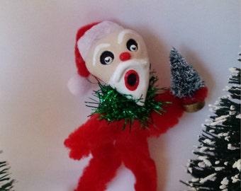 Vintage Style Christmas Holiday Folk Art Chenille Feather Tree Santa Ornament