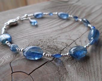 Beautiful Dark Blue Kyanite Sterling Silver and Fine Silver Gemstone Bracelet