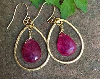 Beautiful Gold  Vermeil over Sterling Teardrop with Ruby Briolette Earrings