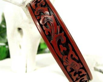 Vintage RED CINNABAR LACQUERWARE Bangle Carved Dragon Floral Large Bracelet