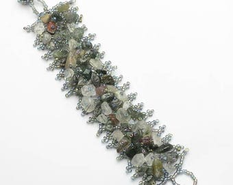 "Handcrafted Natural Rutilated Quartz Hand Beaded Bracelet 7 1/4"" Wearable Length"