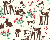 Studio Christmas Fawn Memories in Cream Michael Miller Christmas Fabric, Choose your cut