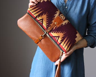 Native American Leather fold over clutch, fold over bag, fold over purse, wool fabric and rust leather clutch with leather wrist strap