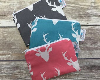 Reusable Machine Washable Zippered BPA-Free Snack-Loc Large Sandwich Small Snack Bag - Rustic Forest Animal Buck Head pink turquoise charcoa