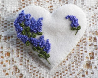 Handmade White Heart Shaped Felt Pin / Brooch / Broach with French Knot Purple Lilacs, Lilac Bush / Lilac Spray, Deep Purple, Hand Stitched