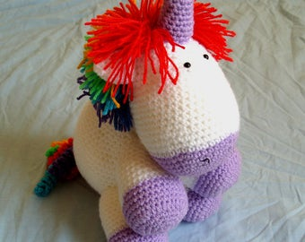 Crochet Stuffed Unicorn Soft Cuddly Toy Amigurumi Cute Rainbow Unicorn Kids Magical Creatures Unicorn Plushie