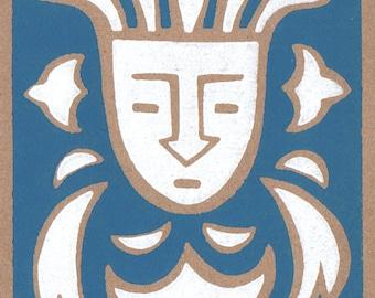 Decorative me. Linocut greeting card.