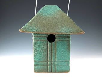 Weathered Bronze Bird House - Pottery Craftsman Mission Style Birdhouse - Outdoor Art - Garden Decor - Ready for Occupancy - 327