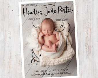 Birth Announcement : Baby Stats Introducing Hendrix Baby Boy Custom Photo Birth Announcement - Baby Announcement - Photo Announcement
