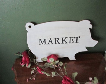 Upcycled Bread Cutting Board Vintage Pig MARKET sign