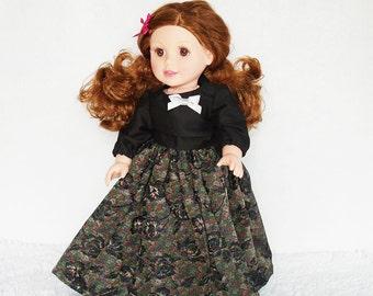 """Vestido 18 pulgadas muñeca Maxi, 18"""" muñecas brocade vestido, vestido de la muñeca de moda floral negro, vestido de muñeca largo, vestido formal con arco"""