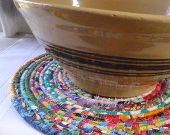 Bohemian Coiled Multicolored Mat, Chair Pad, Hot Pad, Trivet - Large Round - Handmade by Me