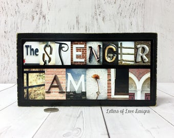 Last Name Wood Sign, Custom Name Sign, Family Name Sign, Last Name Wall Art Decor, Photo Letter Art Collage, Alphabet Photography, Name Art