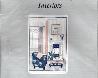 """Vintage 1989 Barbara Thompson Designs English Counted Thread Cross Stitch Embroidery Kit, Interiors, Drawing Rooms. 7""""x9"""" Ivory Background."""