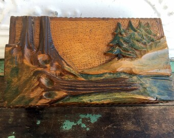 Antique Carved Black Forest Germany Wood Wooden Box Carved trees Woods Unique