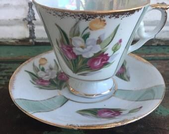 Vintage Teacup Tea Cup and Saucer Lusterware Floral rose Pedestal