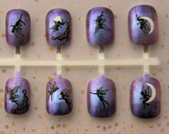 Purple Fairy Faerie Press On Nails | Fairy Fake Nails | Fairy Ombre Nails | Short Fake Nails | Fairy Kei | Fairy Acrylic Glue On Nails