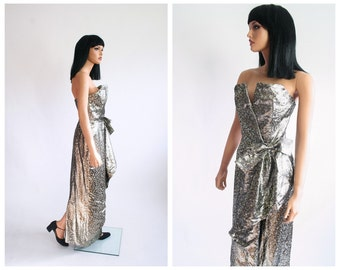 Victor Costa Evening Gown Metallic Brocade Strapless Sweetheart Boned Formal Cocktail Dress 1980s Party 80s Prom Glam Size 8 Small Medium
