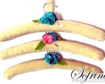 Latte Hanger Trio | Coffee-Color Themed Clothes Hangers | Set of Three | Padded, No-Slip Velvet | Hand-Embroidered Flowers & Leaves | Cute