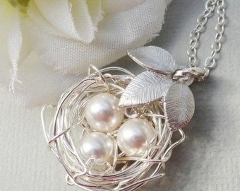 Christmas Sale Sterling Silver Birds Nest With Three Leaves - ALL Sterling Silver Rustic Nest