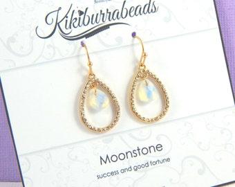 Moonstone Earrings, Gold Moonstone Teardrop Earrings, Moonstone Jewelry,Natural Gemstone, Gemstone Jewelry