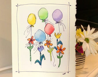 "Ballons Flying With Garden Flowers Happy Birthday Watercolor Original Card ""Big Card"" 5x7 With Matching Envelope  betrueoriginals"