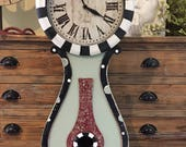 Whimisical Hand Painted Mantel Table Top Clock Black White  Green  Burgundy Diamonds Dots Swirls RESERVED FOR SUZANNE