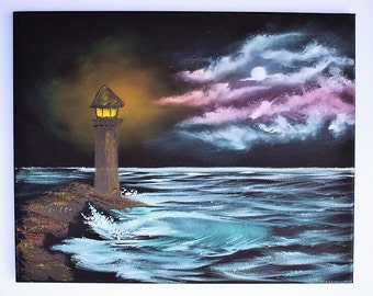 Bob Ross STYLE Oil Painting Seascape Landscape Ocean Night Time Light House Beacon 16 x 20