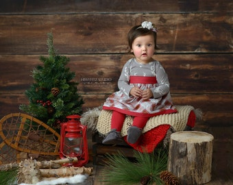 Girls Knit Bodice Christmas Dress- Country Christmas Knit and Plaid Dress - Winter 2016 Collection by Mellon Monkeys