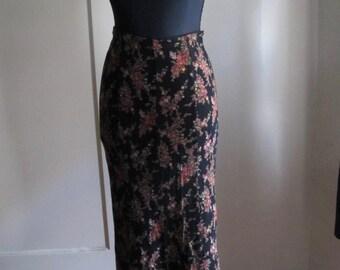 90s Betsey Johnson Fishtail Hem Black Floral Skirt