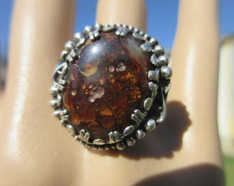SENSATIONAL SOUTH of the border SIGN - Sterling Silver Mexican Fire Agate Ring - Size 9 1/4 - Free Resizing