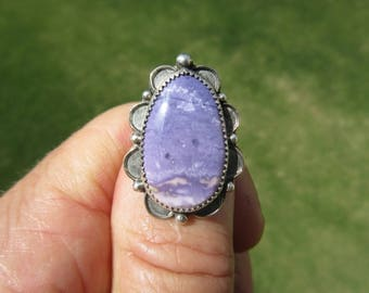 PURPLE PICTURE PASSION - Sterling Silver and 14K Gold Tiffany Stone Ring - Size 8 1/2 - Free Resizing